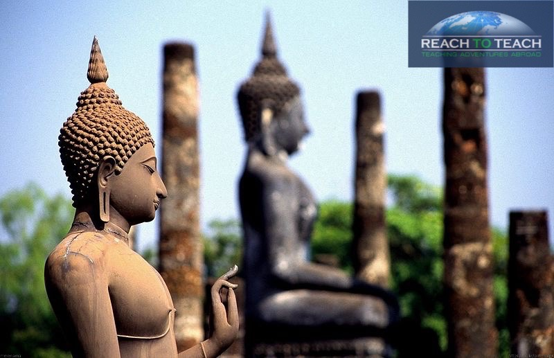 2 buddhastatues half-face view in thailand