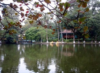 a beautiful green park in ho chi minh, vietnam