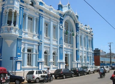 a beutiful blue building of natal in brazil