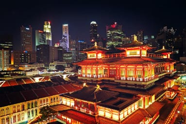 singapore night city view from old chinatown