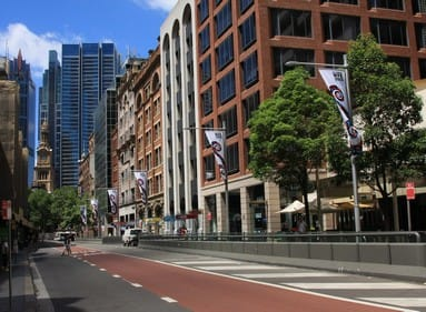 an empty street in the downtown sydney, australia